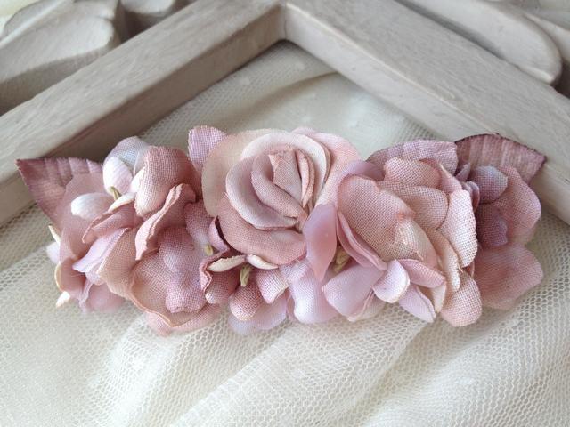 classical flower barette:pink