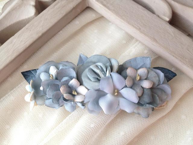 classical flower barette:blue