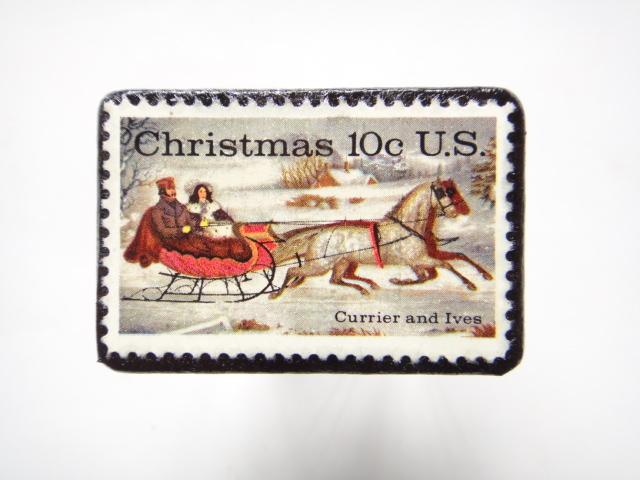 アメリカ クリスマス切手ブローチ 298