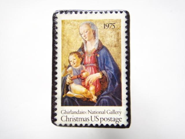 アメリカ クリスマス切手ブローチ 299