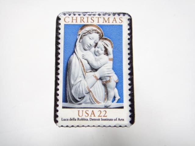 アメリカ クリスマス切手ブローチ 300