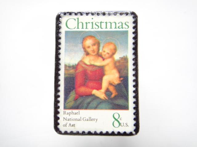 アメリカ クリスマス切手ブローチ 301