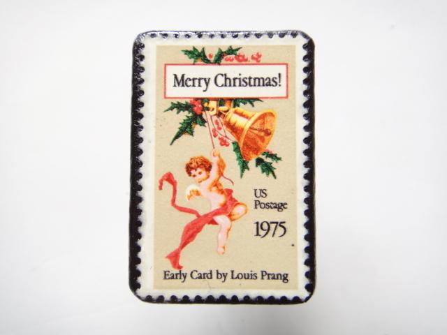 アメリカ クリスマス切手ブローチ 302