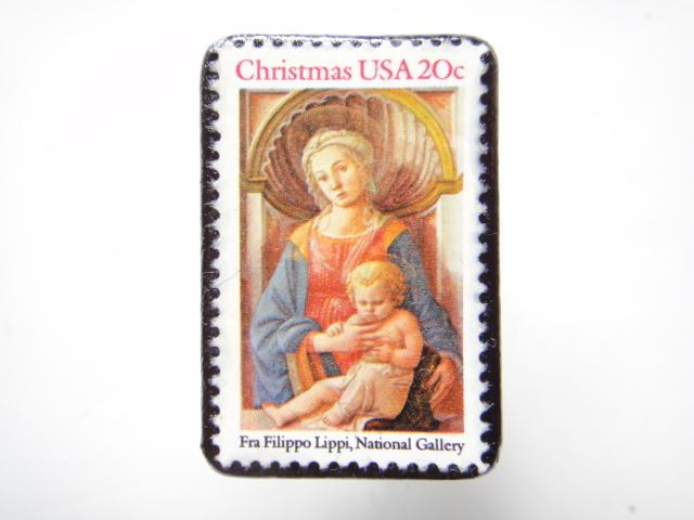 アメリカ クリスマス切手ブローチ 303