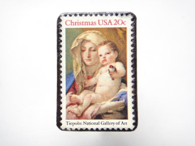 アメリカ クリスマス切手ブローチ 304