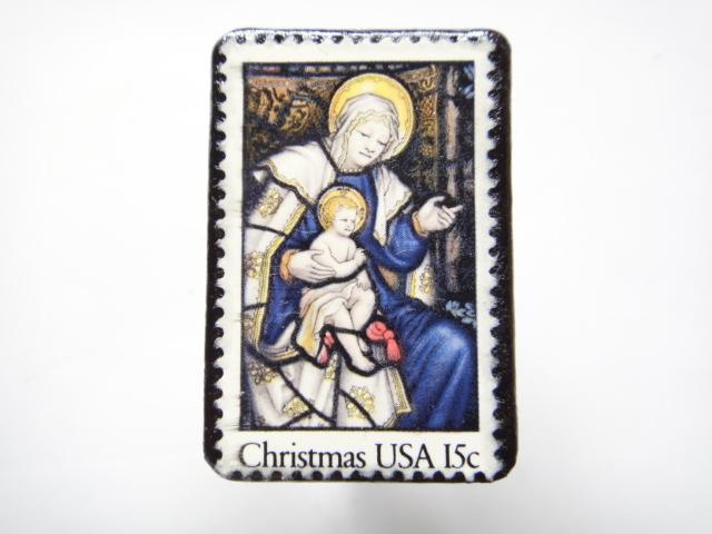 アメリカ クリスマス切手ブローチ 306