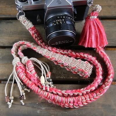 手紡ぎモヘア&麻紐カメラストラップ-レッド(ベルト)