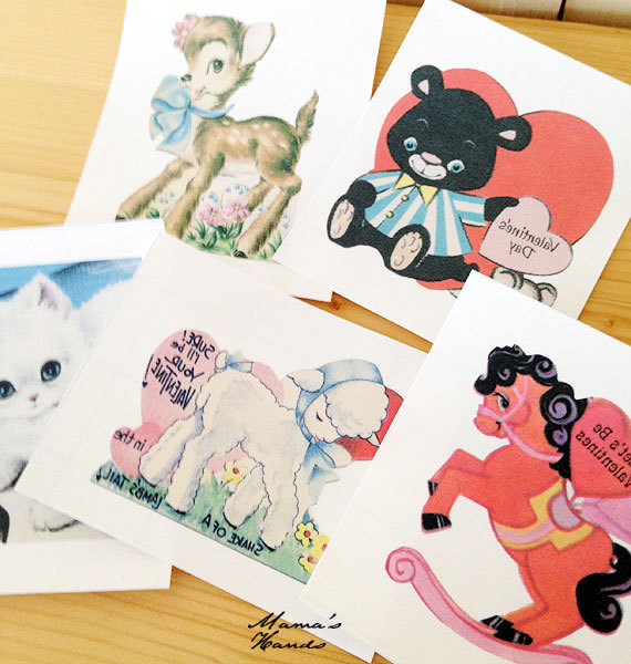 ★SALE★ 5枚 動物 ビンテージカード柄 アイロン転写シート C