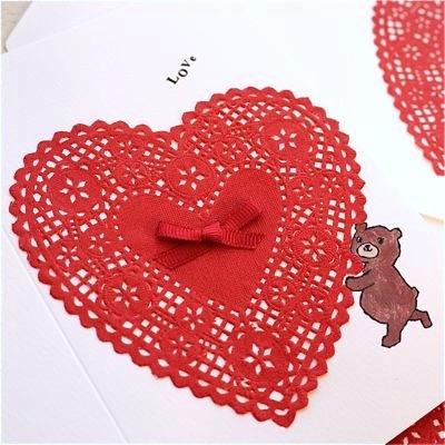 LOVE CARD - HEART LACE & BEAR-