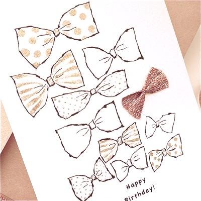 BIRTHDAY CARD -GOLD RIBBONS-