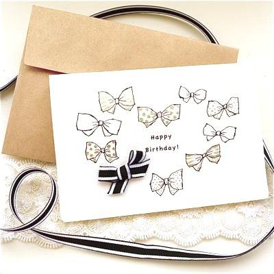 BIRTHDAY CARD -HEART GOLD RIBBONS-