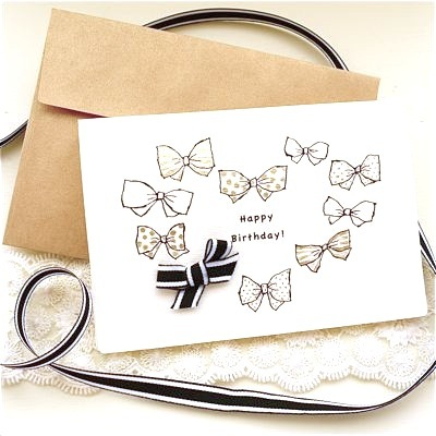 BIRTHDAY CARD -HEART GOLD RIBBONS-