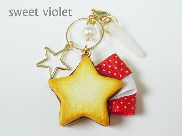 【再々入荷】赤い流れ星クッキーのスマホピアス(ストラップ変更可)