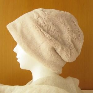 ゆるいリバーシブル帽子 ファー ベージュ/黄起毛(CSR-012-FY)