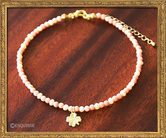真珠とクローバーのアンクレット