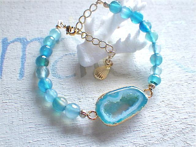 ☆再販☆ Lagoon Druzy Bracelet ブルーアゲート