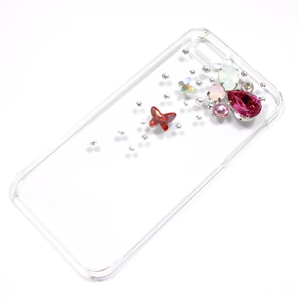 iphone5 iphone5sカバー*ピンクのバタフライ&ビジュー*