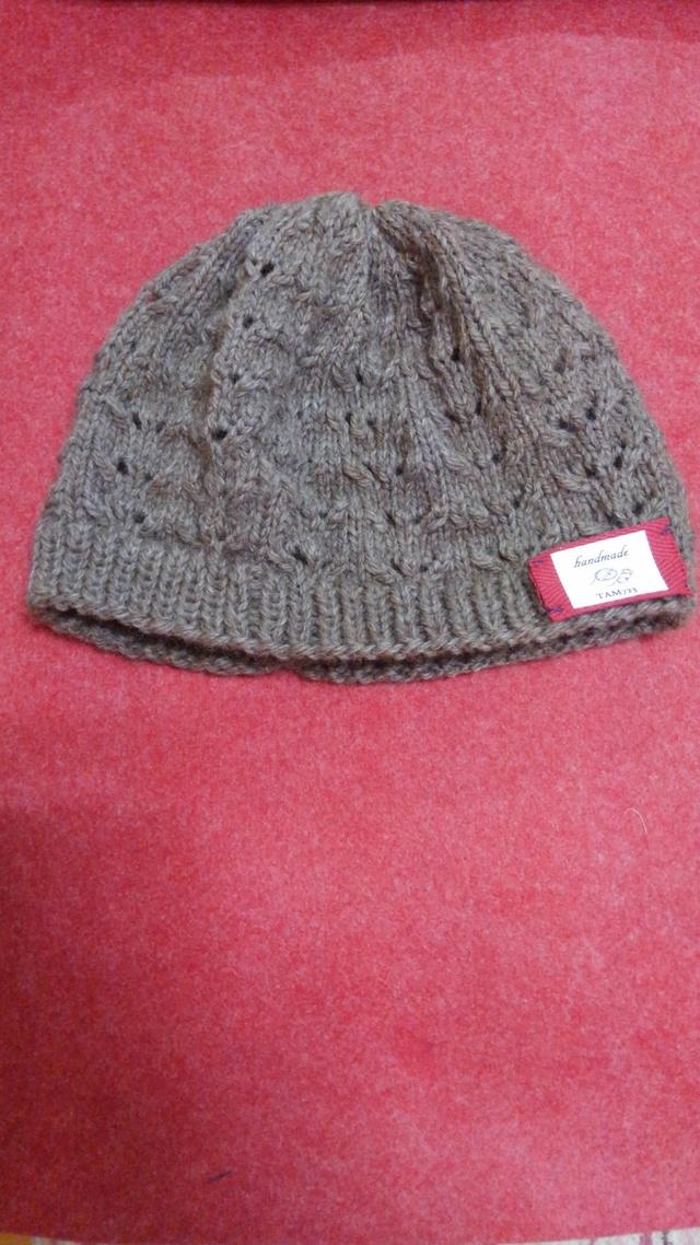 アルパカウールの透かし編みニット帽 焦げ茶
